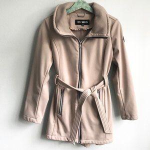 Steve Madden Zip Front Belted Coat Jacket Tan